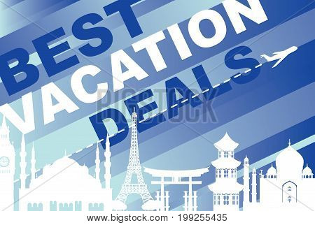 Vector banner best vacation deals for traveling with silhouettes of architectural landmarks and airplane on the blue abstract striped background