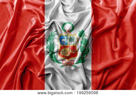 Ruffled waving Peru flag national flag close