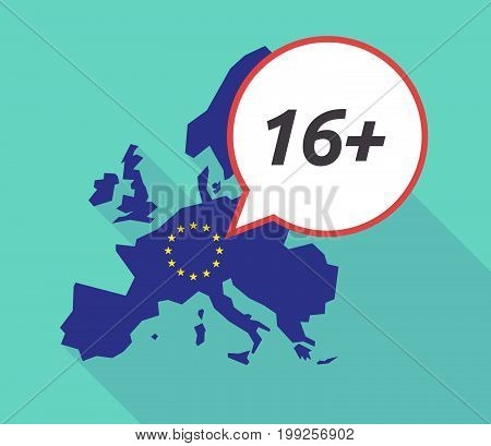 Long Shadow Eu Map With    The Text 16+