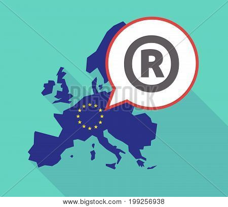 Long Shadow Eu Map With    The Registered Trademark Symbol