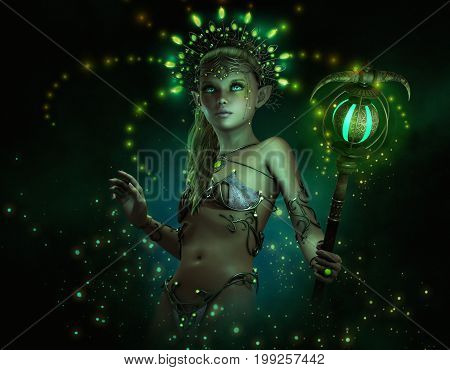 3d computer graphics of a little fairy with illuminated headdress jewelry and staff