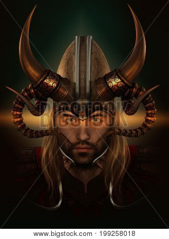 3d computer graphics of a male viking with a helmet with horns