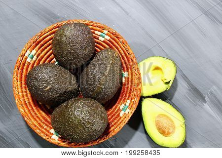A basket of Avocado on wooden background