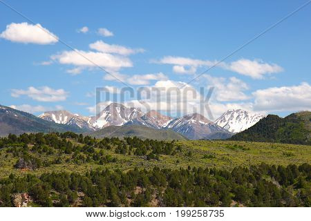 Snow capped Mountains in the summers in Utah USA