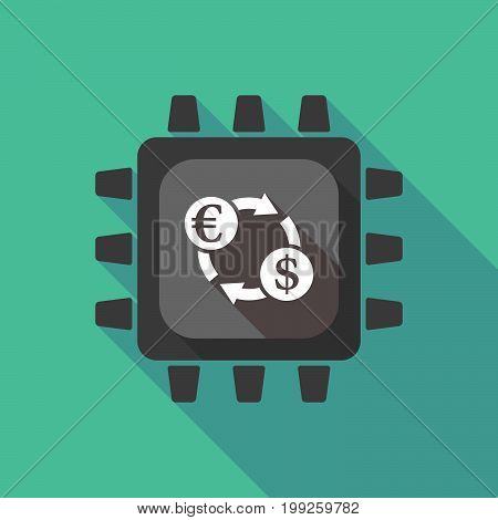 Long Shadow Cpu With  An Euro Dollar Exchange Sign