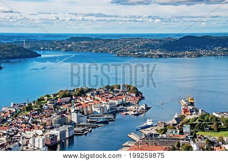 View Of Bergen City From Mount Floyen, Floyen Is One Of The City Mountains In Bergen, Hordaland, Nor