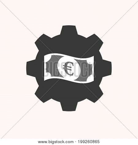 Isolated Gear With  An Euro Bank Note