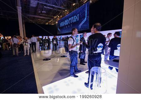 LAS VEGAS NV USA - MAY 5 2014: Zone of EMC Momentum user group at EMC World 2014 conference on May 5 2014 in Las Vegas NV USA.