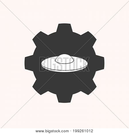 Isolated Gear With  A Flying Saucer Ufo