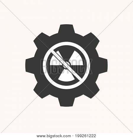 Isolated Gear With  A Radioactivity Sign  In A Not Allowed Signal