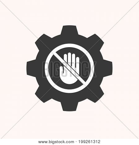 Isolated Gear With  A Hand  In A Not Allowed Signal