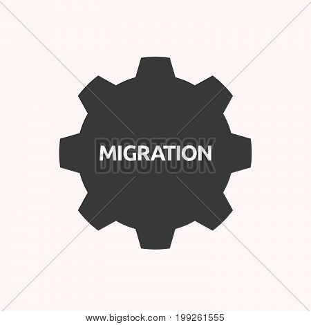Isolated Gear With  The Text Migration
