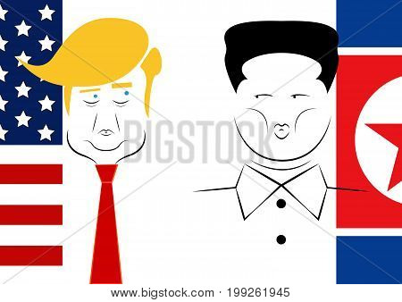 Donald Trump and Kim Jong-un. President of USA and Supreme leader of North Korea