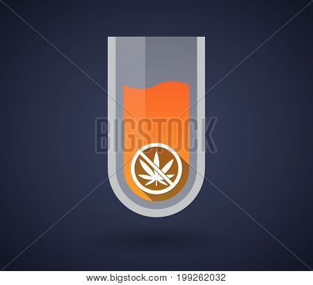 Chemical Test Tube With  A Marijuana Leaf  In A Not Allowed Signal