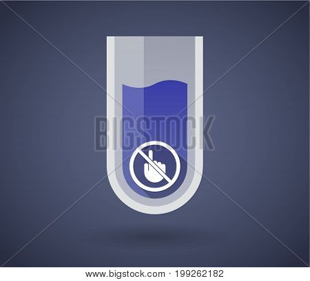 Chemical Test Tube With  A Touching Hand  In A Not Allowed Signal