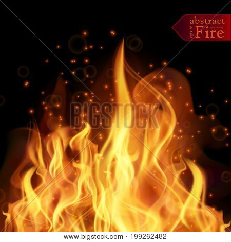Abstract fire flames vector background. Illustration Hot Fire with glowing text in flames. EPS 10