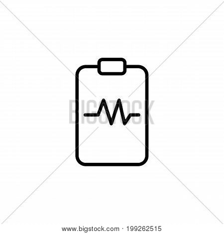 thin line heartbeat clipboard icon on white background