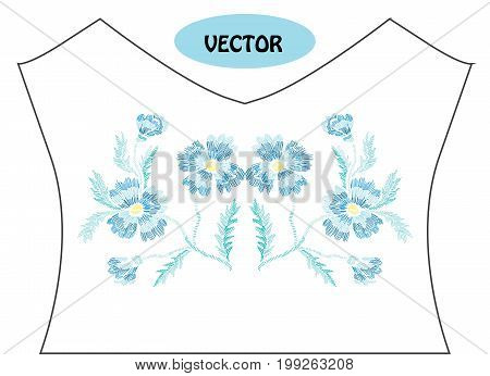 Decorative cornflowers in embroidery style on t-shirt or dress neck line. Editable colors.Can be used for fashion decorations fabrics manufacturing. Embroidery decorative flowers