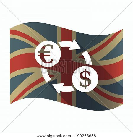 Isolated Uk Flag With  An Euro Dollar Exchange Sign