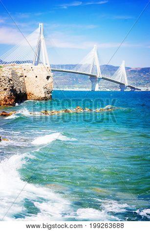 View of Ionian Sea and Rio Antirrio bridge, Greece, retro toned
