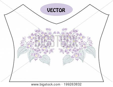 Decorative lilac flowers in embroidery style on t-shirt or dress neck line. Editable colors.Can be used for fashion decorations fabrics manufacturing. Embroidery decorative flowers