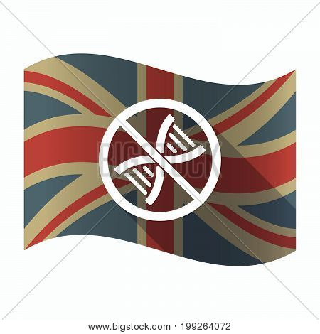Isolated Uk Flag With  A Dna Sign In A Not Allowed Signal