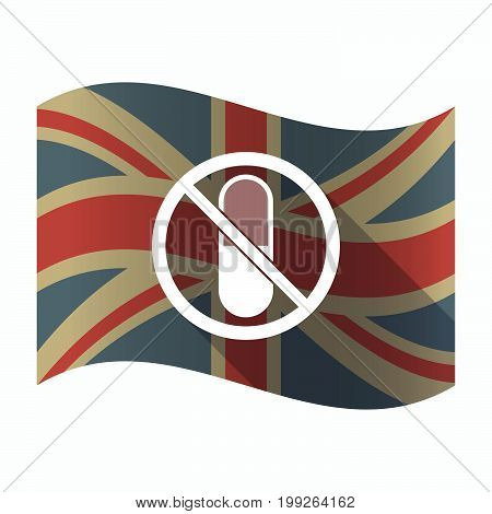 Isolated Uk Flag With  A Pill  In A Not Allowed Signal