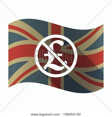 Isolated Uk Flag With  A Pound Sign  In A Not Allowed Signal