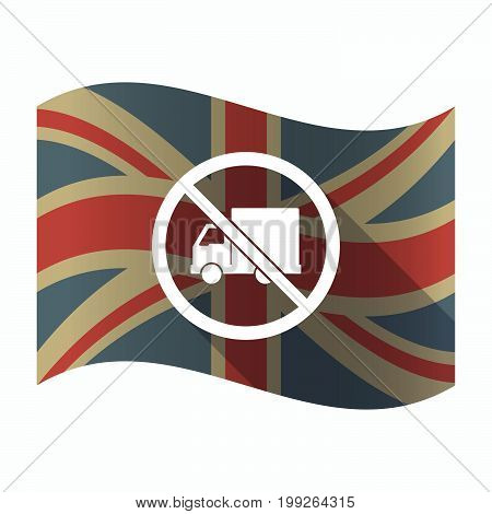 Isolated Uk Flag With  A Delivery Truck  In A Not Allowed Signal