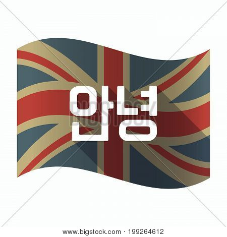 Isolated Uk Flag With  The Text Hello In The Korean  Language
