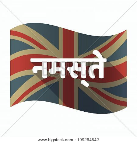 Isolated Uk Flag With  The Text Hello In The Hindi Language