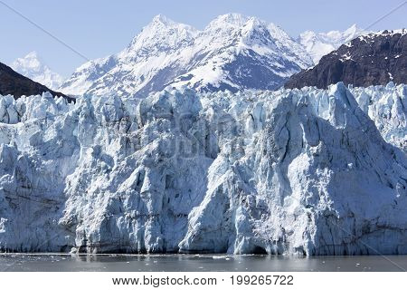 The close view of a glacier in Glacier Bay national park (Alaska).