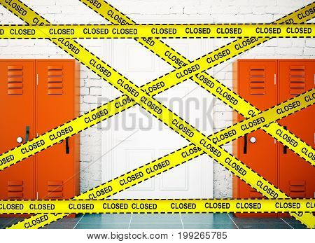 School corridor interior lockers background with yellow tape and the inscription - closed. Protection crime scene repairs concept. 3D Rendering