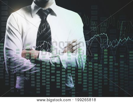 Businessman with folded arms and abstract forex chart. Accounting trade and investment concept. Double exposure