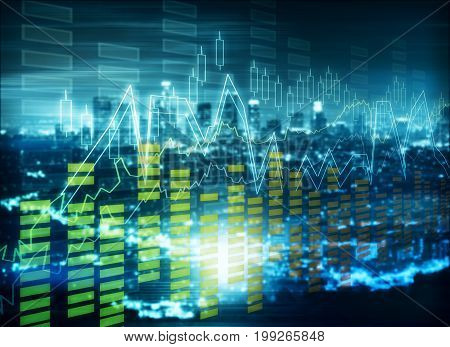 Abstract forex chart on city background. Technology and trade concept. Double exposure