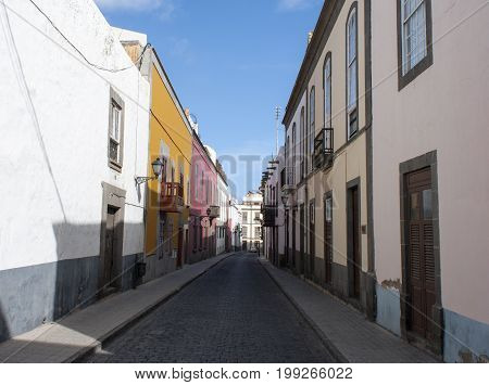 The narrow old street in Las Palmas town on Gran Canaria island (Canary Islands).