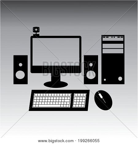 Vector  Black and white style illustration of desktop computer.