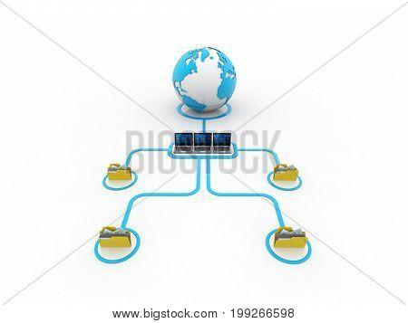 Computer Network, inter network concept. 3d rendering