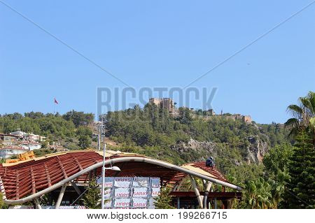 View of Alanya Castle from the city center (Alanya, Turkey).