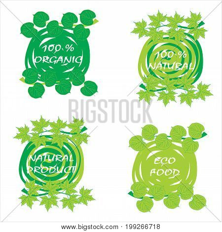 Four Eco logo, signs or labels. 100% nature, 100% organic, eco food, natural product