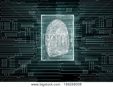 Abstract circuit background with finger print. Biometrics concept. 3D Rendering