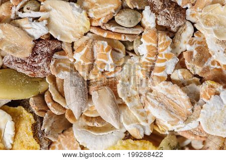 Dry muesli macro closeup shot from above, good as background