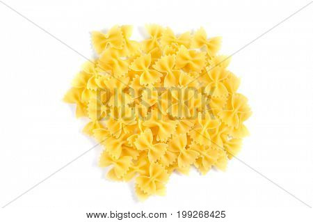 Heap of ribbons pasta isolated on white background