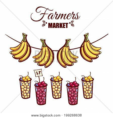 Farmers market. Local food. Glasses of various ripe berries and bananas isolated on white background. Hand drawn vector illustration