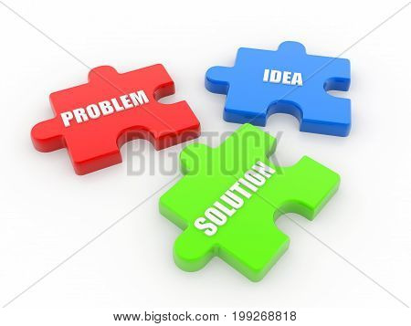 Business Solutions Concept,Puzzle pieces with business terms written on them, 3d rendering