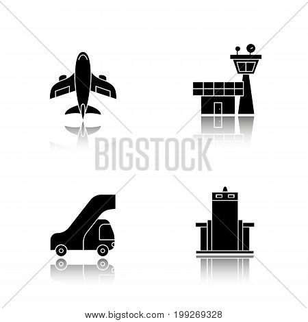 Pilot drop shadow black icons set. Aircraft, Flight control tower, passengers ladder, metal scanner gate. Isolated vector illustrations