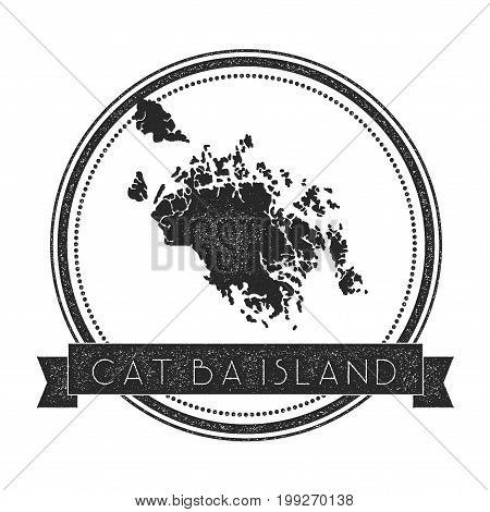 Cat Ba Island Map Stamp. Retro Distressed Insignia. Hipster Round Badge With Text Banner. Island Vec