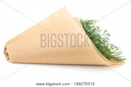 fresh green dill herb leaves bunch in cone of paper isolated on white background cutout