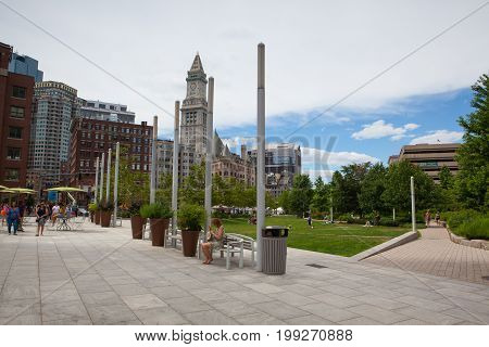 Boston Massachusetts USA - July 2 2016: The North End Parks on the Rose Kennedy Greenway have reconnected Boston. Green space has been created in an area that was formerly an eyesore.