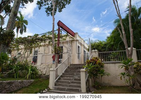 Havana Cuba - February 2 2017: House Finca Vigia where Ernest Hemingway lived from 1939 to 1960.From the back veranda and the adjacent tower one has an excellent view of downtown Havana.